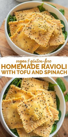 This homemade vegan ravioli recipe with an easy tofu and spinach filling is perf.This homemade vegan ravioli recipe with an easy tofu and spinach filling is perfect for a cosy dinner! It requires just 8 ingredients, and is also gluten-free and Clean Eating Recipes For Dinner, Vegan Dinner Recipes, Clean Eating Snacks, Whole Food Recipes, Cooking Recipes, Healthy Recipes, Easy Vegan Dinner, Vegan Recipes Using Tofu, Simple Tofu Recipes