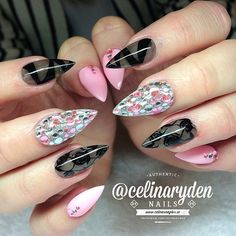 Pastel Pink and Black Nails With Lace Inspired Detail and Rhinestones.