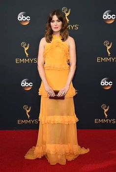 Mandy Moore went for a deeper and darker shade of yellow with this frilly long gown.