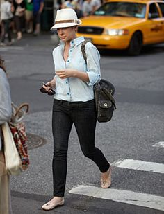 fall style outfit idea fedora jeans