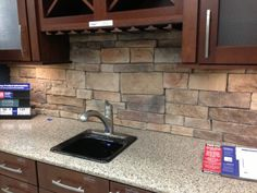 Stained Cabinets, Ledge Stone Back Spash | Sydney Peak Stone Kitchen  BackSplash United States Kitchen Bath Design | Kitchen | Pinterest | Stone  Kitchen ...