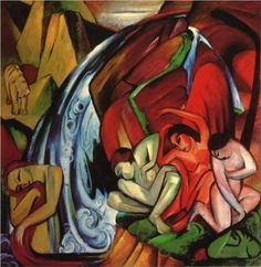 Expressionism: The Waterfall - Franz Marc, 1912, Germany. Lent to movement of depicting people and animals.