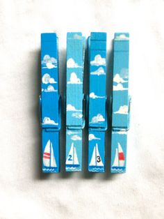 SAILBOAT CLOTHESPINS hand painted magnetic by SugarAndPaint, $12.00