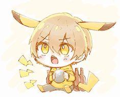 """Just play with me. Kawaii Chibi, Anime Chibi, Kawaii Anime, Pikachu, Pokemon, Blue Anime, Manga, Estilo Anime, I Love Anime"