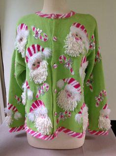 Design Options Christmas Cardigan Sweater Lime Santa Candy-cane Sequin L Large #DesignOptions #Cardigan