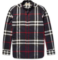 BURBERRY Brit Button-Down Collar Checked Cotton-Twill Shirt. #burberry #cloth #casual shirts