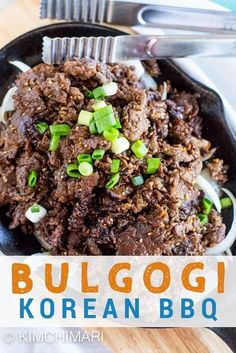 Bulgogi – Authentic Korean Beef BBQ Bulgogi Bulgogi is the most delicious Korean BBQ meat dish that is made with thin slices of beef. The marinade recipe uses kiwi that makes it most tender and yummy. Honey Recipes, Meat Recipes, Asian Recipes, Cooking Recipes, Cooking Bread, Cooking Oil, Cooking Games, Asian Foods, Kitchen Recipes