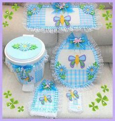 Mariposs baño Decor Crafts, Home Crafts, Arts And Crafts, Diy Crafts, Bathroom Crafts, Bathroom Sets, Sewing Projects, Projects To Try, No Sew Curtains
