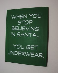 When you stop believing in santa... you get underwear #lovesloggies