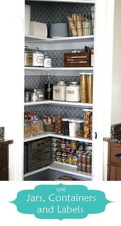 Organization tips for a Kitchen pantry makeover. Jars and containers for the pantry space. house of smiths pantry. Like the wallpaper/contact paper on the back wall.