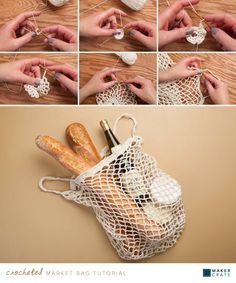Crocheted Market Bag   DIY Groceries Bag   Maker Crate #crochet #groceries