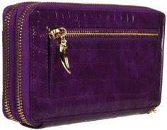 Tusk Antique Croco Double Zip AC-443 Wallet,Purple,One Size Tusk. $129.59