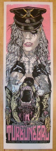 """Turbonegro - silkscreen concert poster (click image for more detail) Artist: Rhys Cooper Venue: The Hi-Fi Location: Melbourne, Australia Concert Date: 12/7/2012 Size: 12"""" x 36"""" Edition: 250; signed an"""