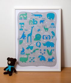 Image of Modern Nursery Art, Animal Alphabet Print in Blue for a Baby Boy
