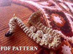 PDF PATTERN Crochet Saxophone Pin Brooch Pendant. $5.00, via Etsy.