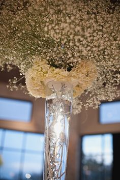 Baby's breath  Centerpieces.  Someone recently suggested to me an all baby's breath wedding. Browsing ideas. Not sure! -Ashleigh