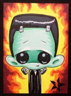 Sugar Fueled Frankenstein Universal Monster Horror lowbrow creepy cute big eye ACEO mini print