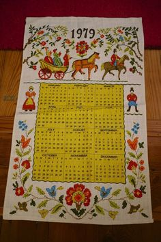 Vintage 1979 Colorful Victorian Woven Linen Calendar Wall Hanging Tea Towel