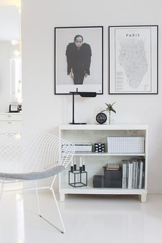 Simple black and white / Scandinavian home of Vaihtelevasti Valkoista Bertoia Diamond / Vee Speers / Flos TabT / Ehrenstråhle / By Lassen Kubus / Hay