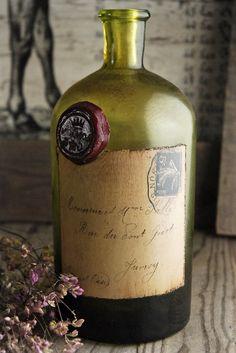 French Postale Green Glass Bottle