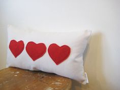 Modern Pillow Heart Red and White Throw Cushion by opticdesign, $28.00
