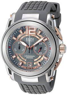 Elini Barokas Men's 'King' Swiss Quartz Stainless Steel and Silicone Automatic Watch, Color:Grey (Model: 20014-SR-014-GRYS)