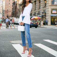 657 vind-ik-leuks, 15 reacties - @city_fashion_blogger op Instagram: 'Via @best__outfits__ @somethingnavy ✔️ . . . #jeans #shoes #heels #highheels #ootd #outfit…'