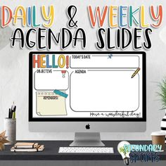 Use these daily agenda slides and weekly slides in your classroom to get students ready for the day or week. Provide expectations, procedures, warm up activities and more all in one place for students to see in class or in google classroom using these as google slides. The link for Google Slides is ...