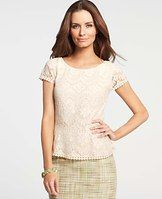 Mosaic Lace Peplum Top - Picture-perfect, this intricate lace stunner flaunts sheer sleeves for a look thats the ultimate in summer romance. Front jewel neck. Back scoop neck. Cap sleeves. Front and back peplum. Hidden side zipper. Lined body, unlined sleeves.