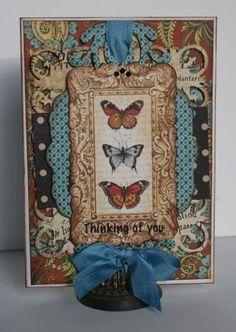 Love this card using Graphic 45's Olde Curiosity  Shoppe. Terrific embellishment and layering. Thinking of You @Teresa Selberg Selberg Selberg.horner via Scrapbook.com