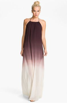 Young, Fabulous & Broke Ombré Trapeze Maxi Dress, $286.00, halter neck, abbreviated mid-thigh lining, wine-stained ombre