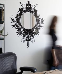 """10 Temporary, Removable Products for Renters. LOVE this idea for an ornate mirror on a budget, without having to paint! Blik """"Fernwood Mirror"""" Wall Decal"""