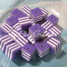 200  count 10 mm Purple Cube Beads  SALE by PegsClayGround on Etsy