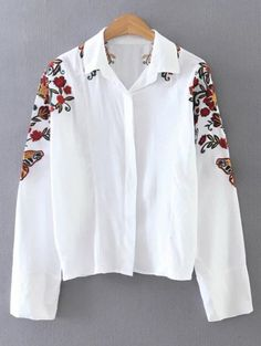 Cropped Flower Embroidered Shirt - WHITE M