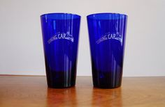 Cobalt Blue Pint Glasses, The Dining Car Glasses, Art Deco Railroad Beer Glasses, Vintage Barware, Railroad Collectible