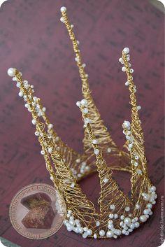 """Купить Корона """"Паутинка"""" - корона, корона для принцессы, корона для фотосессии, проволока, кристаллы, жемчуг"""