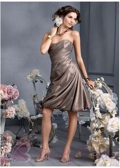 Strapless Tea length Ruffle taffeta Bubble A-line Bridesmaid Dress B1285