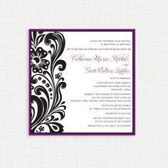 Msfit Designs 5x5 Purple Swirl printable wedding invitation on Etsy, $25.00