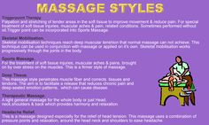 There are many different styles of massage therapy.  Which one do you like?  My post explains...