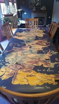 Game Of Thrones Hand Painted Westeros Table Take one Table, six house paint samples from Home Depot, and one Game of Thrones superfan with too much time on their hands.