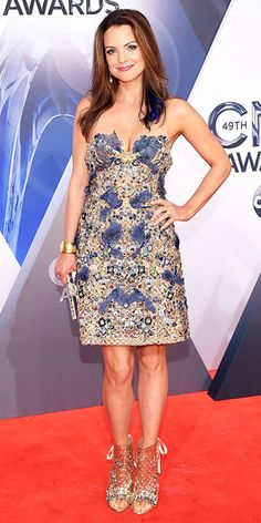 Best dressed at CMA Awards 2015: Kimberly Williams-Paisley in an embellished Marchesa mini dress and metallic heels