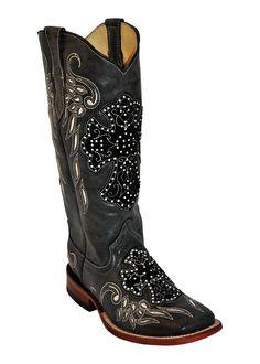 Ferrini Ladies Black Dark Angel S-Toe Cowboy Boots