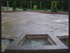 Exterior Remarkable Stamped Concrete Patio With Fire Pit Red Brick