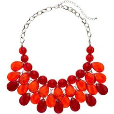 Red Beaded Teardrop Statement Necklace ($18) ❤ liked on Polyvore featuring jewelry, necklaces, red other, red jewelry, silver statement necklace, tear drop necklace, teardrop necklaces and silver necklace