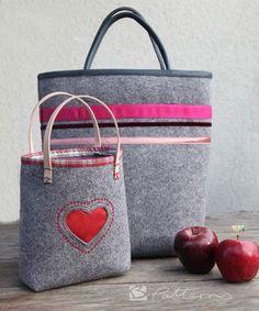 Filz für Alle! Diese Tasche gibt's gleich in zwei Größen, so ist für jeden die richtige Tasche dabei. Das Schnittmuster gibt es auf Makerist.de