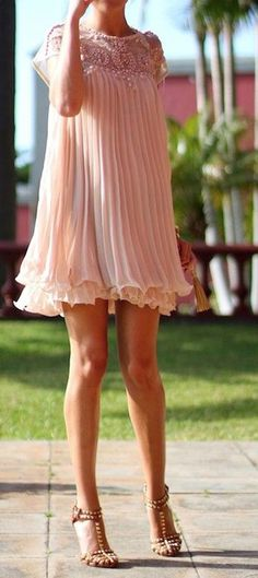 Apricot Pink Plain Beading Pleated Cap Sleeve Chiffon Dress - Dresses