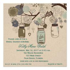 Country Rustic Mason Jar Bridal Shower Invites #EnvironmentalInvitation