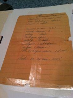 old handwritten recipe for spareribs
