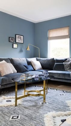 Living room How To Choose Locking Mailboxes locking mailboxes, mail boxes Article Body: Do you need Blue Velvet Sofa Living Room, Brown And Blue Living Room, Blue Living Room Decor, Accent Walls In Living Room, Living Room Colors, Living Room Sofa, Blue Sofas, Blue Accent Walls, Hall Interior Design