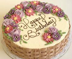 Beautifully simple basket weave cake and flower arrangement Basket Weave Cake, Flower Basket Cake, Cake Basket, Basket Weaving, Pretty Cakes, Beautiful Cakes, Amazing Cakes, Rodjendanske Torte, Happy Birthday Cake Images